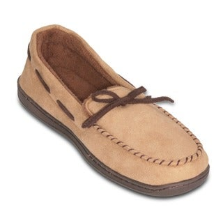 Men's Beige Suede Memory Foam Slipper with Terry Lining