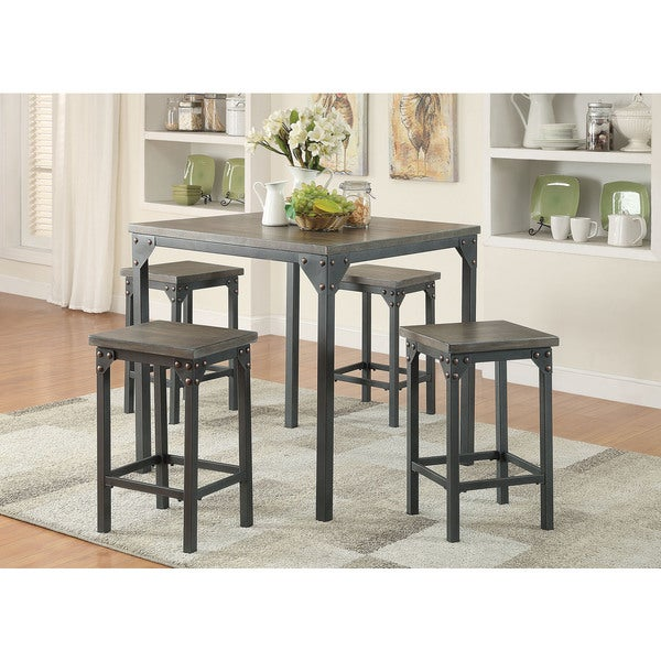 percie black mdf metal 5 piece counter height dining set free