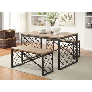 Light Oak & Gray Catalina 3-piece Dining Set