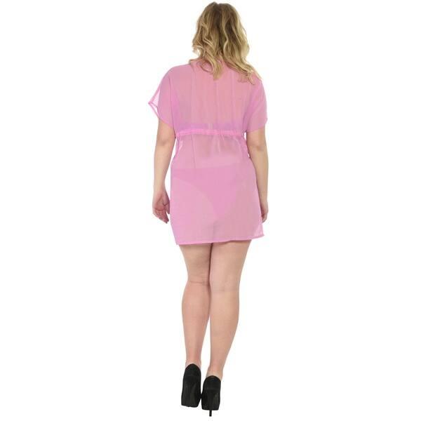 Shop La Leela Women\'s Pink Chiffon 5-in-1 Sheer Beachwear ...