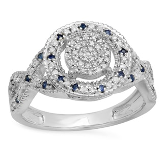 Elora Sterling Silver 1/3-carat Round Blue Sapphire and White Diamond Ladies' Engagement Ring (I-J and Blu