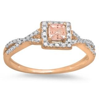 Elora 14k Rose Gold 1/2-carat Cushion Morganite and Round Diamond Swirl Split Shank Halo-style Engagement