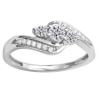 14k White Gold 1/2ct TDW Round Diamond Swirl Engagement 3-stone Bridal Ring (I-J, I1-I2)