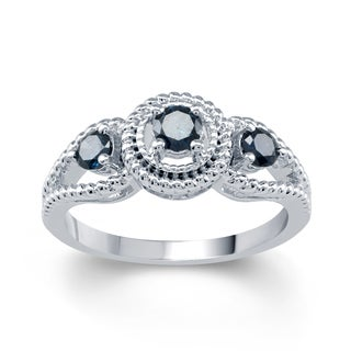 14k White Gold 1/2ct TDW Blue Round Diamond Three Engagement Stone Bridal Ring