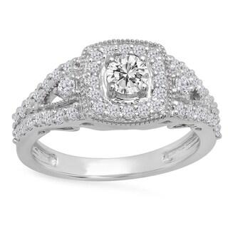 14k Gold 1ct TDW Round-cut White Diamond Bridal Split Shank Halo Style Engagement Ring (I-J, I1-I2)