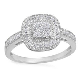 Elora 14k Gold 1/2ct TDW Round-cut White Diamond Cluster Style Milgrain Bridals Engagement Ring (I-J, I1-I
