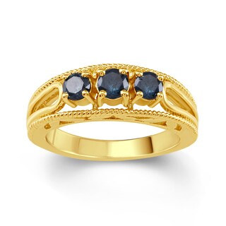 18k Gold Over Sterling Silver 1/2ct TDW Blue Diamond 3- Stone Engagement Ring