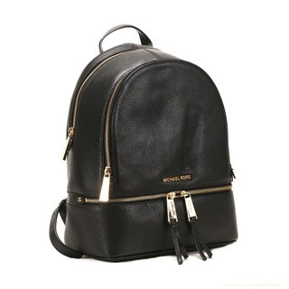 Michel Kors Black Rhea Black Zip Small Backpack (Option: Black)