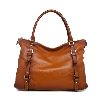 Vicenzo Leather Callie Brown Leather Shoulder Tote Handbag
