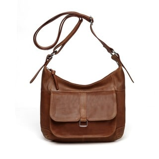 Vicenzo Leather Ciara Brown Leather Crossbody Handbag