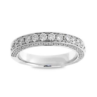 Azaro Jewelry 18k White Gold 1 2/5ct TDW Round Diamond 3-row Wedding Set (G-H, SI1-SI2)