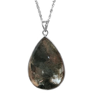 De Buman Sterling Silver Natural Phantom Crystal Pendant Necklace with 18-inch Chain