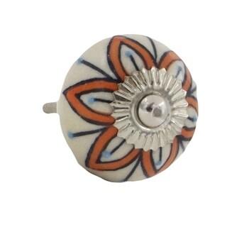 Orange Floral Design with Blue Dots Ceramic Drawer/ Door/ Cabinet Pull Knob (Pack of 6)