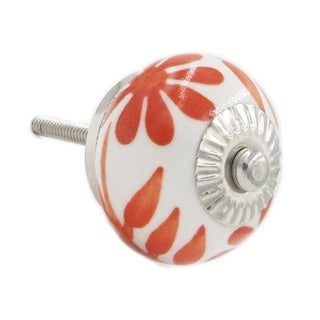 Orange/ White Ceramic Drawer/ Door/ Cabinet Pull Knob (Pack of 6)