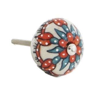White, Orange, Blue Floral Decorative Knobs (Set of 6)