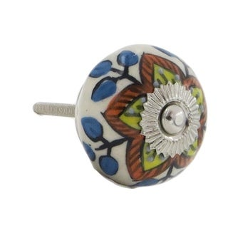 Yellow and Red Floral Design Knobs (Set of 6)
