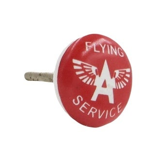 Flying A Oil Service' Gas Station Ceramic Drawer/ Door/ Cabinet Pull Knobs (Pack of 6)