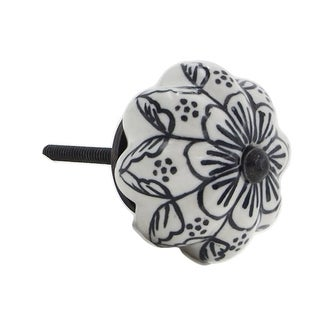 White and Black Large Decorative Knobs (Set of 6)