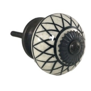Black Lines Pattern Decorative Knobs (Pack of 6)