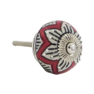 Red Floral White Raised Dots Ceramic Drawer/ Door/ Cabinet Pull Knob (Pack of 6)