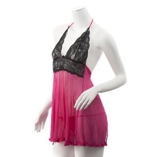 Zodaca Women's Plus Size Lingerie Black/ Hot Pink Lace Babydoll Dress Underwear Sleepwear with Matchy G-String