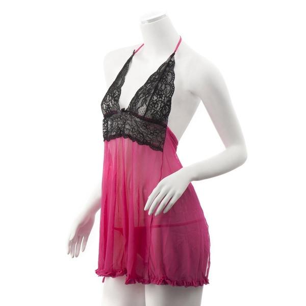 75505da9606 Zodaca Women  x27 s Plus Size Lingerie Black  Hot Pink Lace Babydoll Dress