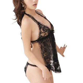 Zodaca Women's Lingerie Black Lace Halter Babydoll and G-String Panty Set