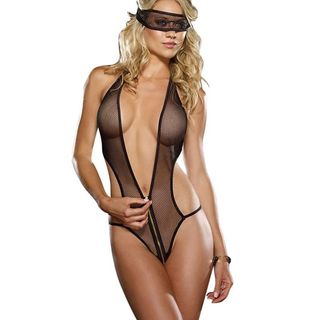 Zodaca Women's Lingerie Black Mesh Bodysuit with Eye Mask