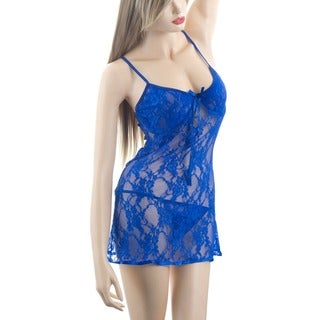 Zodaca Women's Lingerie Royal Blue Lace Babydoll Sleepwear Underwear with Matchy G-String