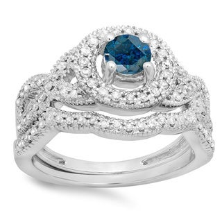 Elora 14k Gold 1ct TDW Round-cut Blue and White Diamond Swirl Bridal Halo Engagement Ring With Band Set (H