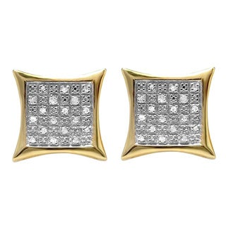 18K Yellow Gold 1/4ct TDW Plated Sterling Silver Round Diamond Men's Kite Shape Hip Hop Iced Stud Earrings (I-J, I1-I2)