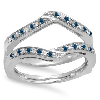 14k Gold 1/3ct TDW Round Blue and White Diamond Anniversary Wedding Band Enhancer Guard Double Ring (H-I, I1-I2)