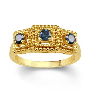 18k Gold over Sterling Silver 1/2ct TDW Blue Diamond 3- Stone Ring (I2-I3)