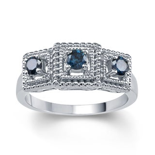 Sterling Silver 1/2ct TDW Blue Diamond 3- Stone Ring