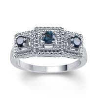 Sterling Silver 1/2ct TDW Blue Diamond 3- Stone Ring
