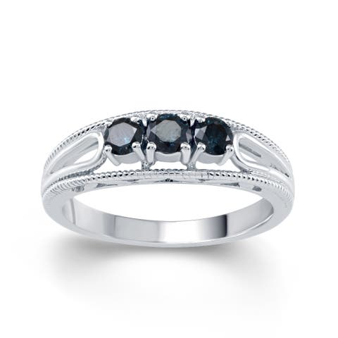 Sterling Silver 1/2ct TDW Blue Diamond 3- Stone Engagement Ring