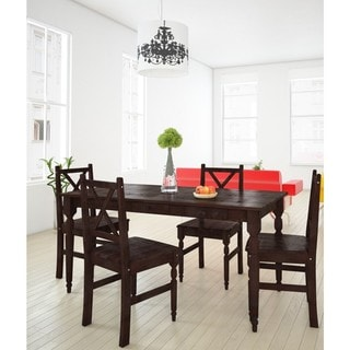 Rico White, Natural, Brown Wood 5-piece Dining Set