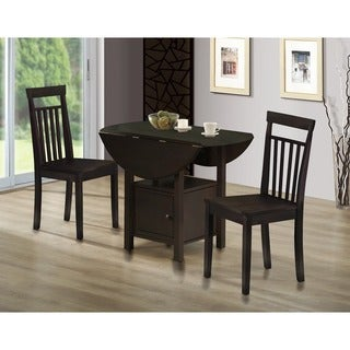 Montana Wood 3-piece Dining Set with 2x Drop Leaf and Storage