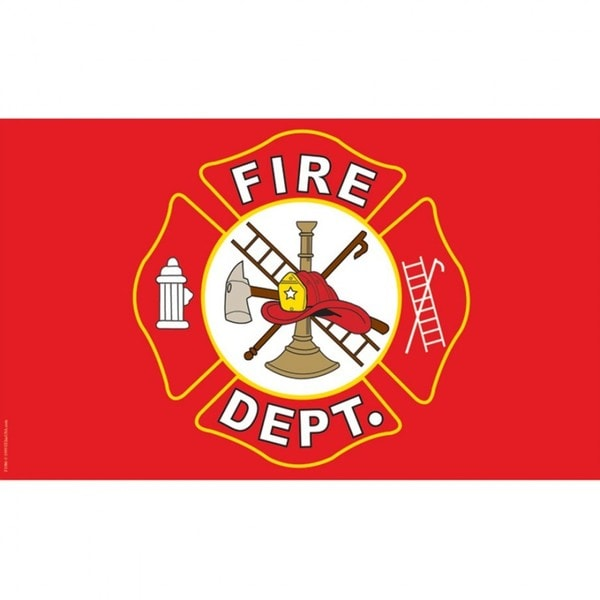 Red Polyester Fire Department Logo Flag