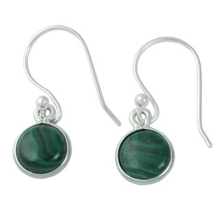 Handcrafted Sterling Silver 'Malachite Spheres' Malachite Earrings (India)