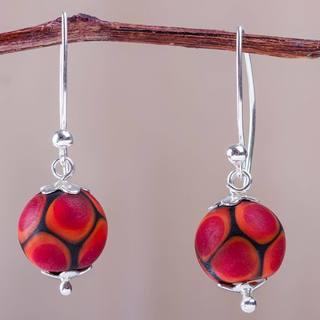 Handmade Sterling Silver Blown Glass 'Fire Baubles' Earrings (Peru)