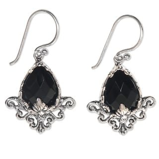 Handcrafted Sterling Silver 'Maharani' Onyx Flower Earrings (Indonesia)