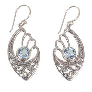 Handmade Sterling Silver 'Blue Wings' Blue Topaz Earrings (Indonesia)