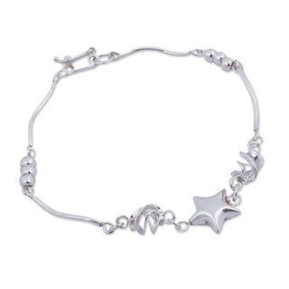 Handmade Sterling Silver 'Shining Star' Bracelet (Peru)