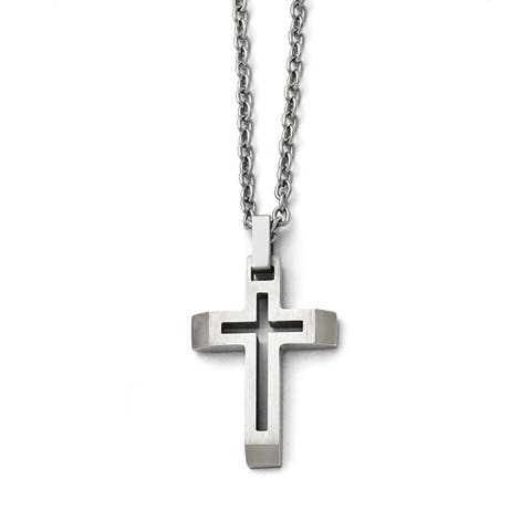 Versil Stainless Steel 20-inch Cross Necklace