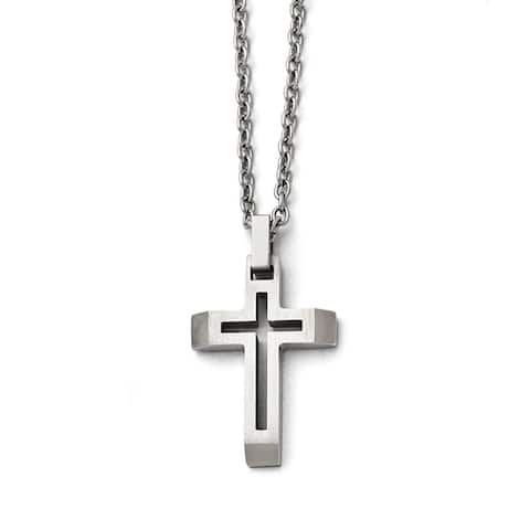 Stainless Steel 20-inch Cross Necklace by Versil