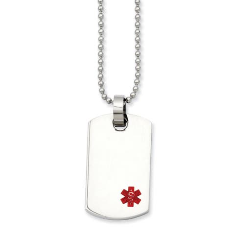 Chisel Men's Stainless Steel 24-inch Small Dog Tag Medical Pendant Necklace