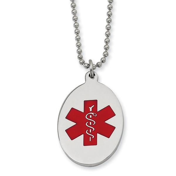Versil Chisel Mens Stainless Steel Red Enamel 22 Inch Oval Medical