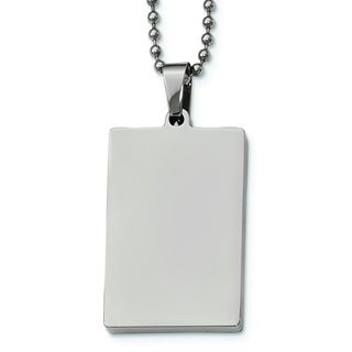 Versil Polished Stainless Steel 24-inch Dog Tag Necklace