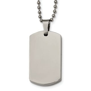 Versil Stainless Steel Polished Rounded Edge 4mm Thick Dog Tag Necklace, 24 Inch